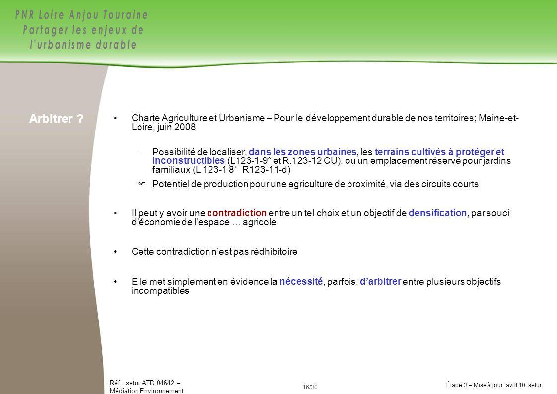 16/84 Réf.: setur ATD 04642 – Médiation Environnement Étape 3 – Mise à jour: avril 10, setur 16/30 Charte Agriculture et Urbanisme – Pour le développe