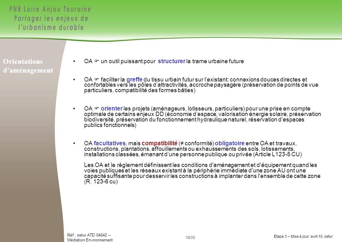 19/84 Réf.: setur ATD 04642 – Médiation Environnement Étape 3 – Mise à jour: avril 10, setur 19/30 OA un outil puissant pour structurer la trame urbai