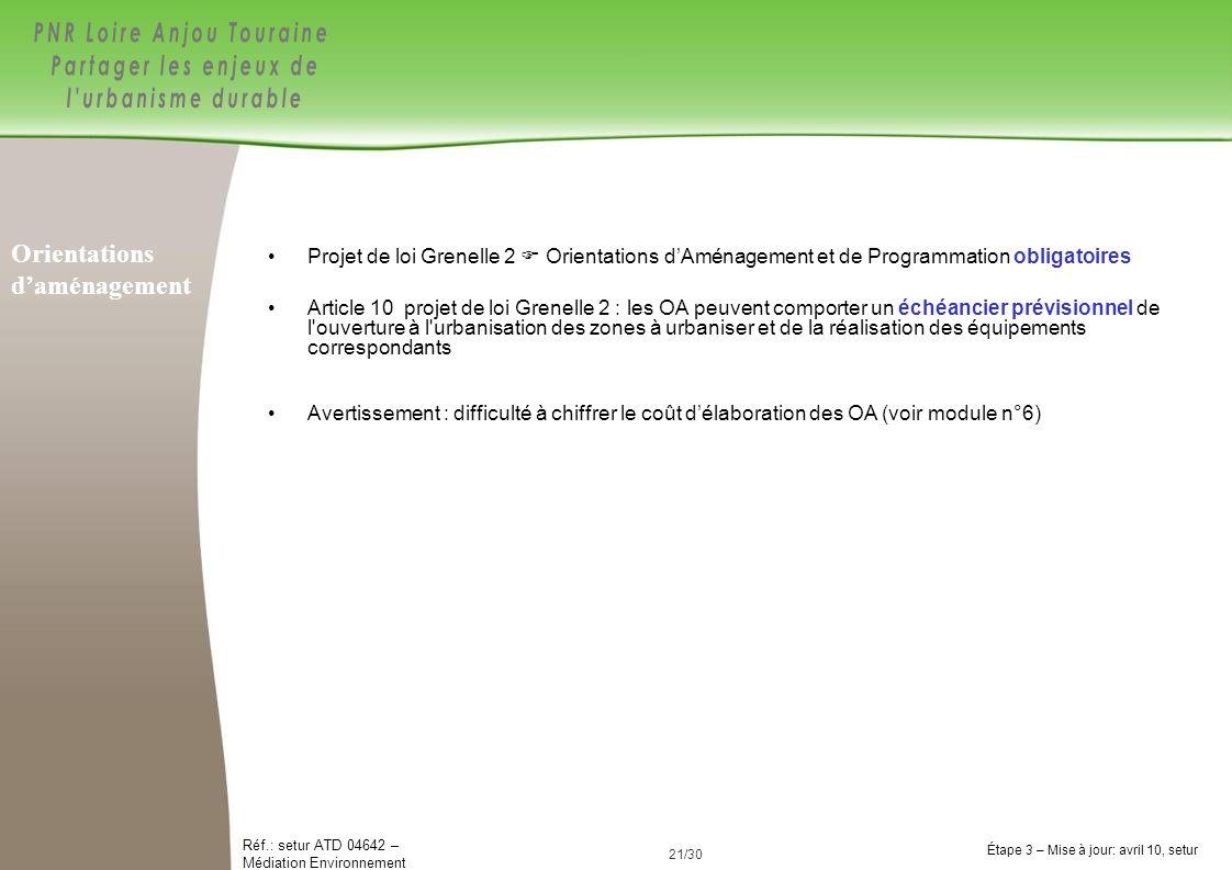 21/84 Réf.: setur ATD 04642 – Médiation Environnement Étape 3 – Mise à jour: avril 10, setur 21/30 Projet de loi Grenelle 2 Orientations dAménagement