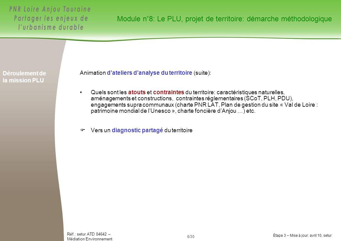 6/84 Réf.: setur ATD 04642 – Médiation Environnement Étape 3 – Mise à jour: avril 10, setur 6/30 Déroulement de la mission PLU Animation dateliers dan