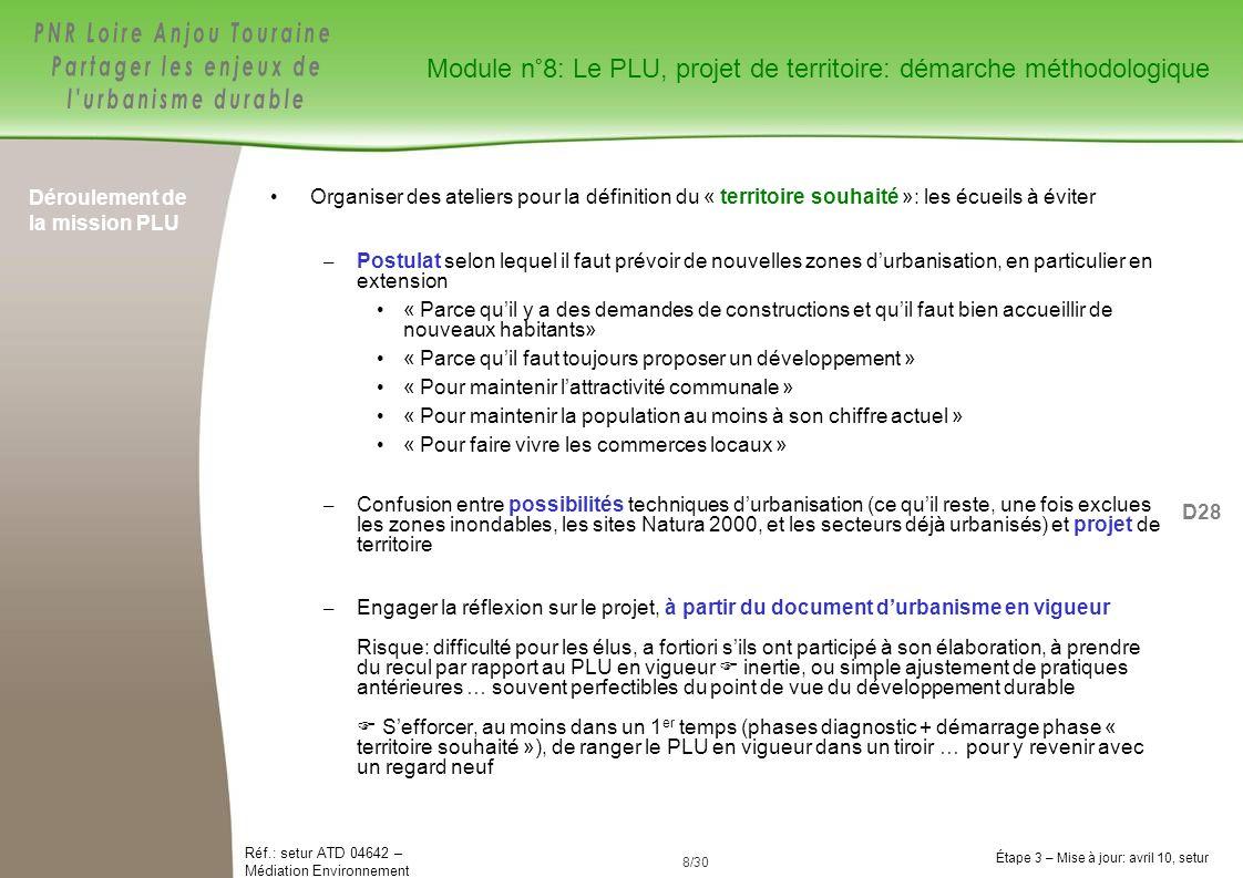 8/84 Réf.: setur ATD 04642 – Médiation Environnement Étape 3 – Mise à jour: avril 10, setur 8/30 Déroulement de la mission PLU Organiser des ateliers