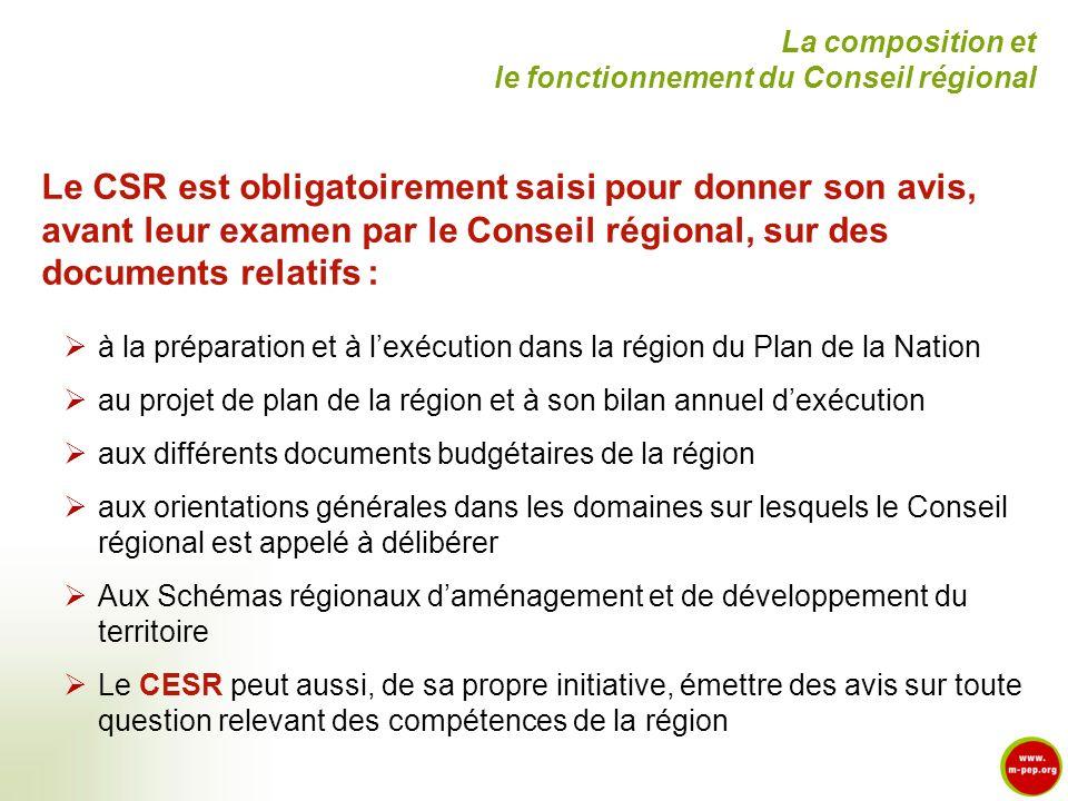 Le CSR est obligatoirement saisi pour donner son avis, avant leur examen par le Conseil régional, sur des documents relatifs : à la préparation et à l