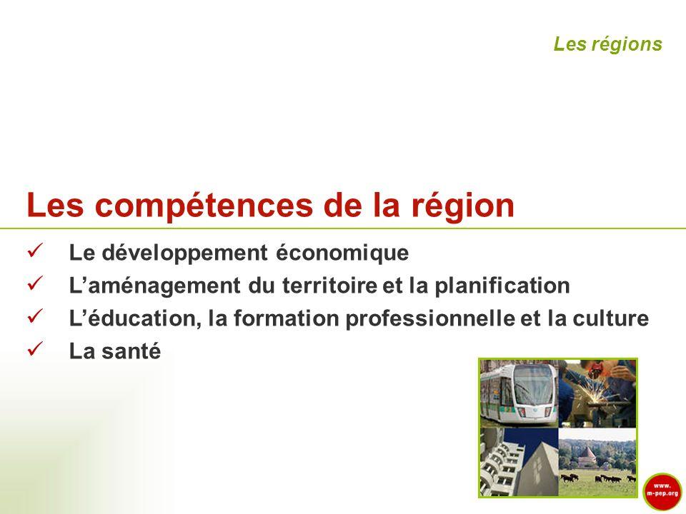 Les compétences de la région Le développement économique Laménagement du territoire et la planification Léducation, la formation professionnelle et la