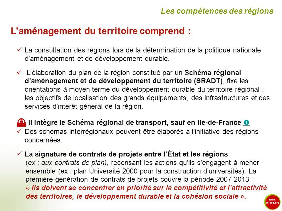 Laménagement du territoire comprend : La consultation des régions lors de la détermination de la politique nationale daménagement et de développement