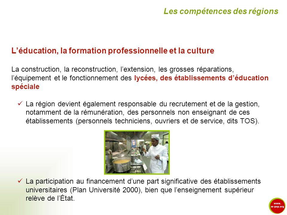 Léducation, la formation professionnelle et la culture La construction, la reconstruction, lextension, les grosses réparations, léquipement et le fonc