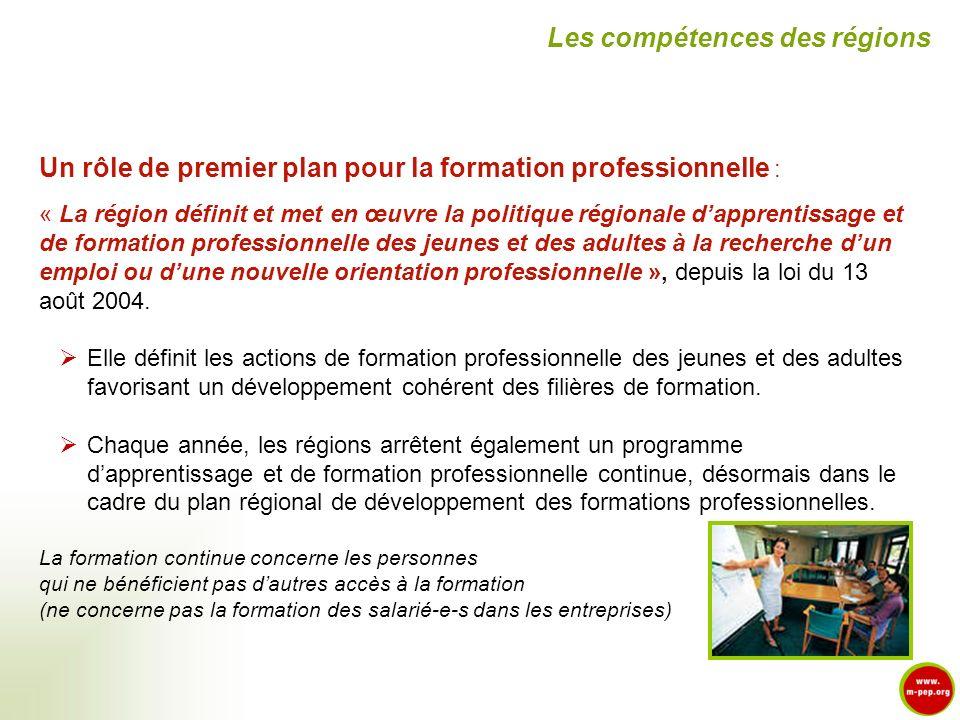 Un rôle de premier plan pour la formation professionnelle : « La région définit et met en œuvre la politique régionale dapprentissage et de formation
