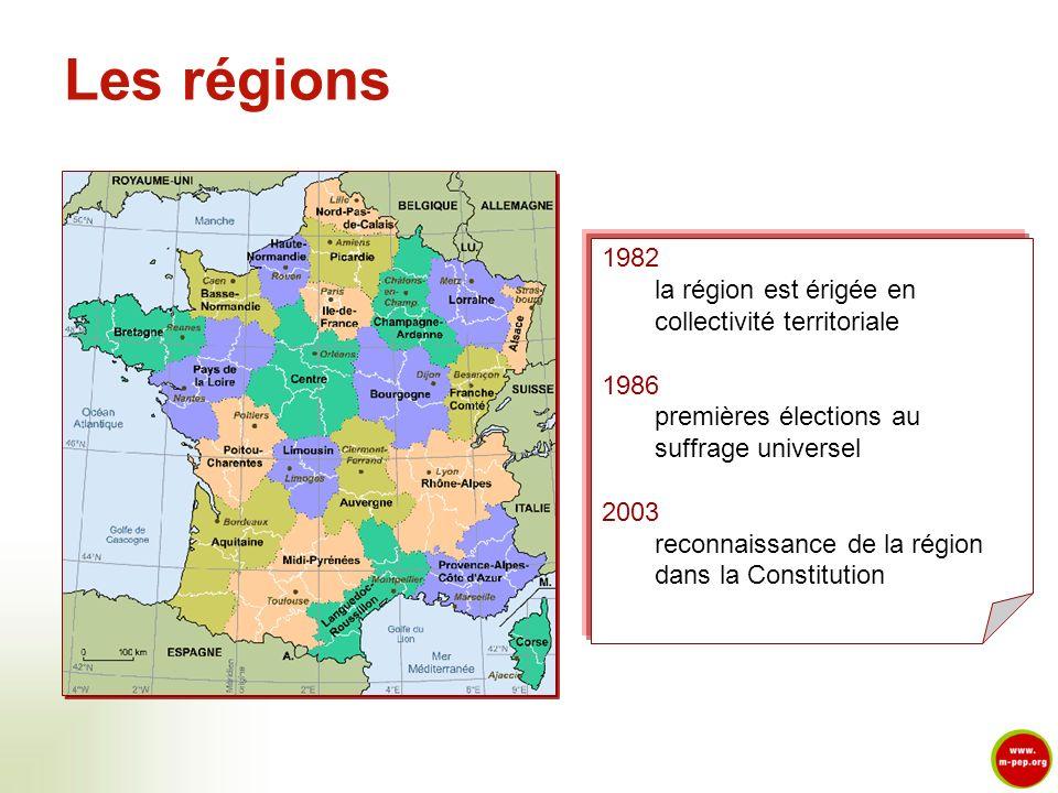 Les régions 1982 la région est érigée en collectivité territoriale 1986 premières élections au suffrage universel 2003 reconnaissance de la région dan