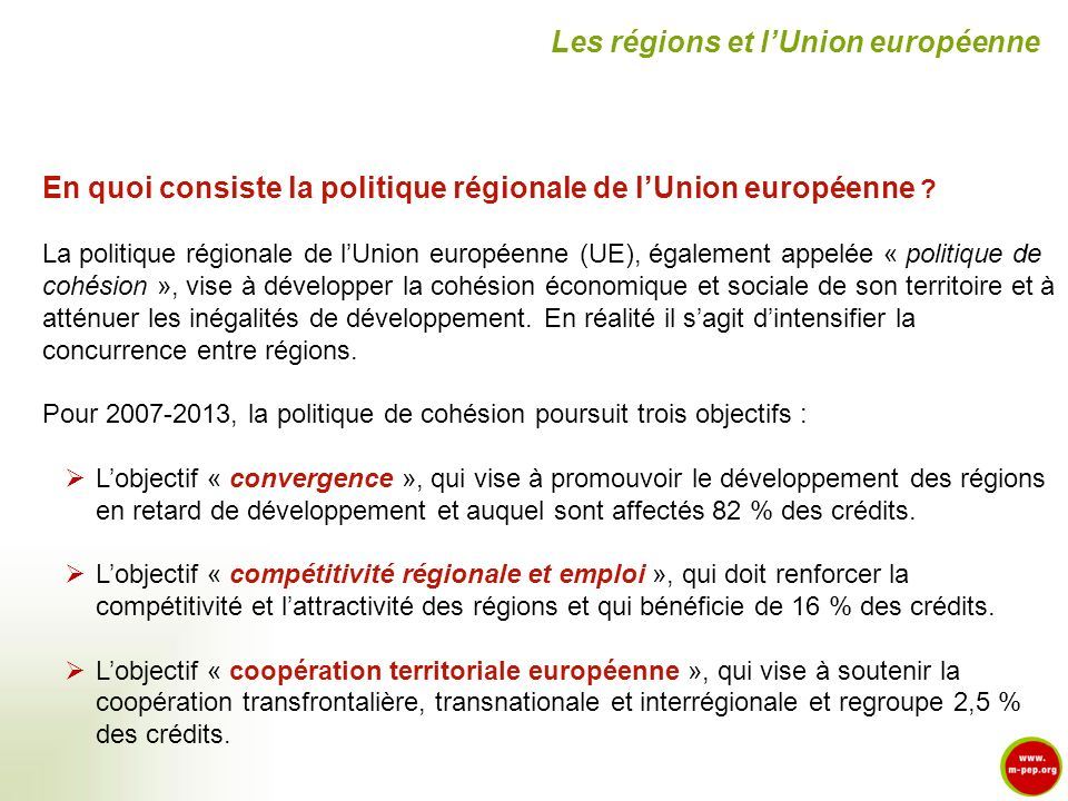 En quoi consiste la politique régionale de lUnion européenne ? La politique régionale de lUnion européenne (UE), également appelée « politique de cohé