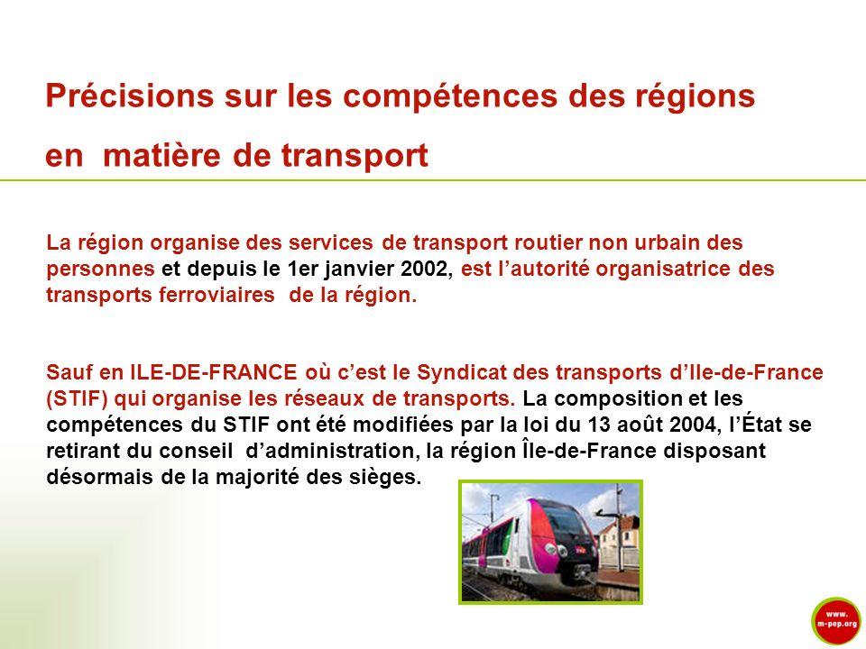 Précisions sur les compétences des régions en matière de transport La région organise des services de transport routier non urbain des personnes et de