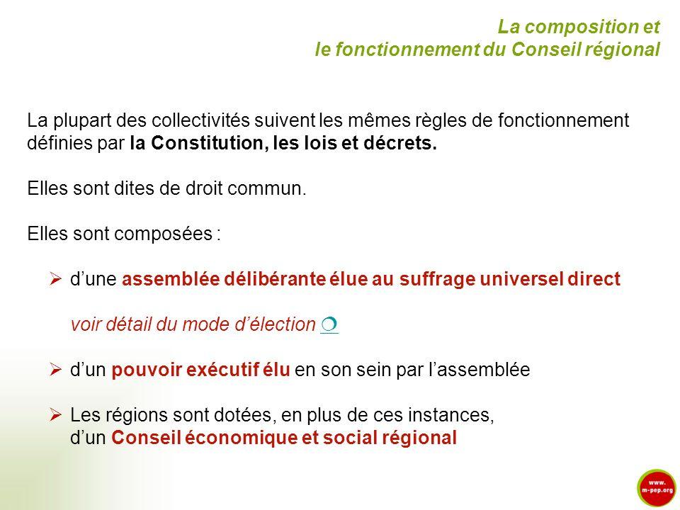 La plupart des collectivités suivent les mêmes règles de fonctionnement définies par la Constitution, les lois et décrets. Elles sont dites de droit c