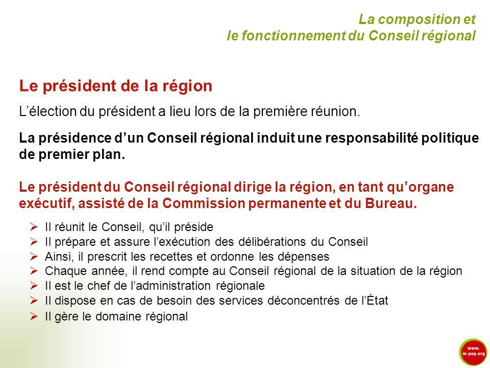 Le président de la région Lélection du président a lieu lors de la première réunion. La présidence dun Conseil régional induit une responsabilité poli