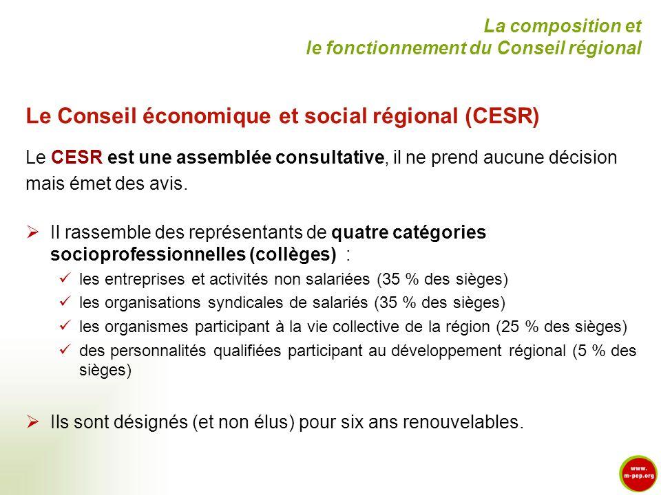 Le Conseil économique et social régional (CESR) Le CESR est une assemblée consultative, il ne prend aucune décision mais émet des avis. Il rassemble d