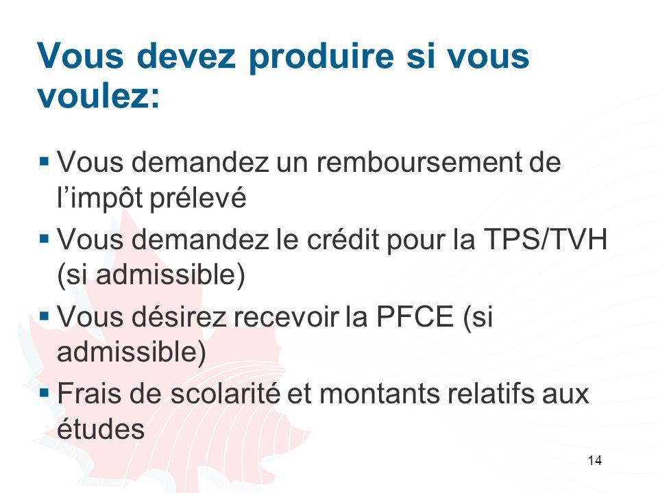 14 Vous devez produire si vous voulez: Vous demandez un remboursement de limpôt prélevé Vous demandez le crédit pour la TPS/TVH (si admissible) Vous désirez recevoir la PFCE (si admissible) Frais de scolarité et montants relatifs aux études