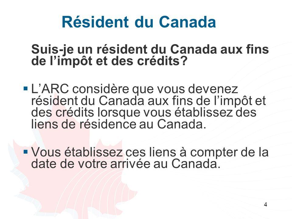 4 Résident du Canada Suis-je un résident du Canada aux fins de limpôt et des crédits.