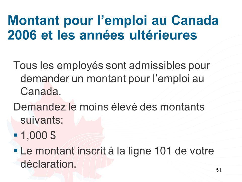 51 Montant pour lemploi au Canada 2006 et les années ultérieures Tous les employés sont admissibles pour demander un montant pour lemploi au Canada.