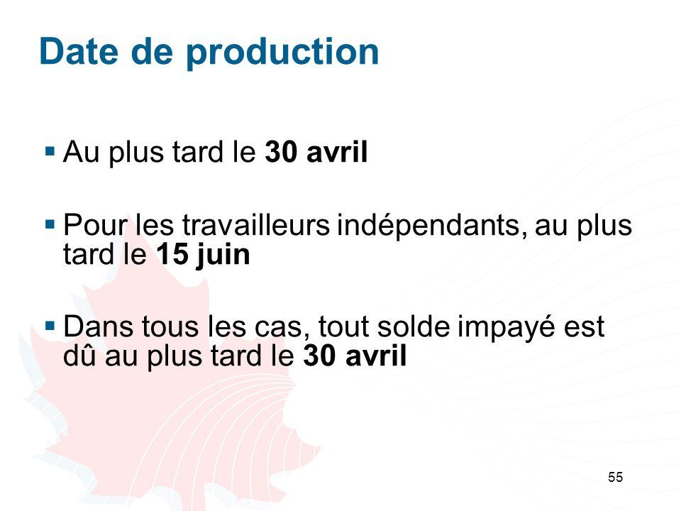 55 Date de production Au plus tard le 30 avril Pour les travailleurs indépendants, au plus tard le 15 juin Dans tous les cas, tout solde impayé est dû au plus tard le 30 avril
