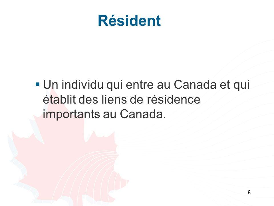 9 Résident réputé Un résident réputé est un résident dun autre pays qui séjourne au Canada pendant 183 jours ou plus dans lannée dimposition et qui na pas établit des liens de résidence importants avec le Canada.