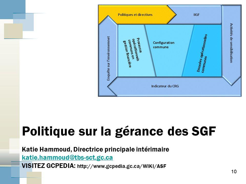 10 Politique sur la gérance des SGF Katie Hammoud, Directrice principale intérimaire katie.hammoud@tbs-sct.gc.ca VISITEZ GCPEDIA: http://www.gcpedia.gc.ca/WIKI/ASF katie.hammoud@tbs-sct.gc.ca 10