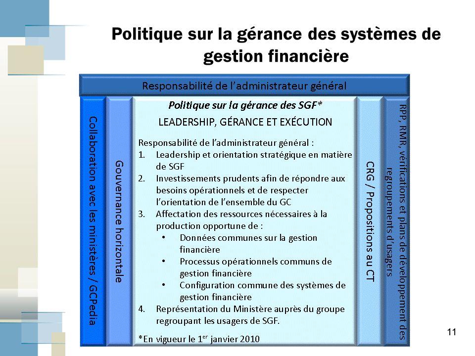 11 Politique sur la gérance des systèmes de gestion financière 11