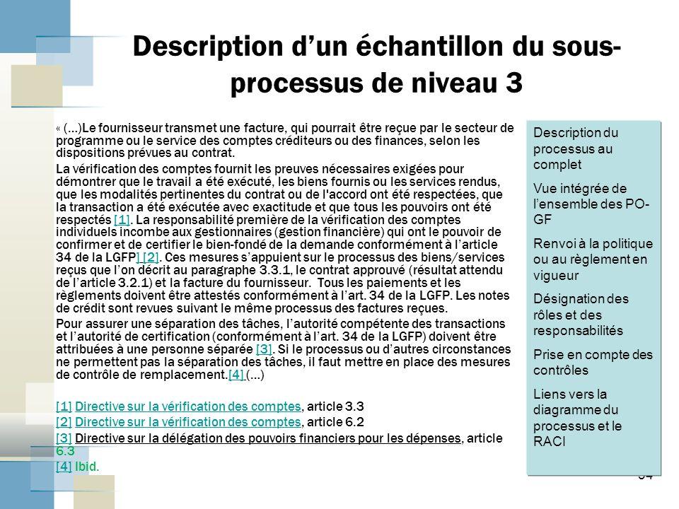 34 Description dun échantillon du sous- processus de niveau 3 « (…)Le fournisseur transmet une facture, qui pourrait être reçue par le secteur de programme ou le service des comptes créditeurs ou des finances, selon les dispositions prévues au contrat.