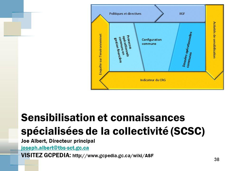 38 Sensibilisation et connaissances spécialisées de la collectivité (SCSC) Joe Albert, Directeur principal joseph.albert@tbs-sct.gc.ca VISITEZ GCPEDIA: http://www.gcpedia.gc.ca/wiki/ASF joseph.albert@tbs-sct.gc.ca 38