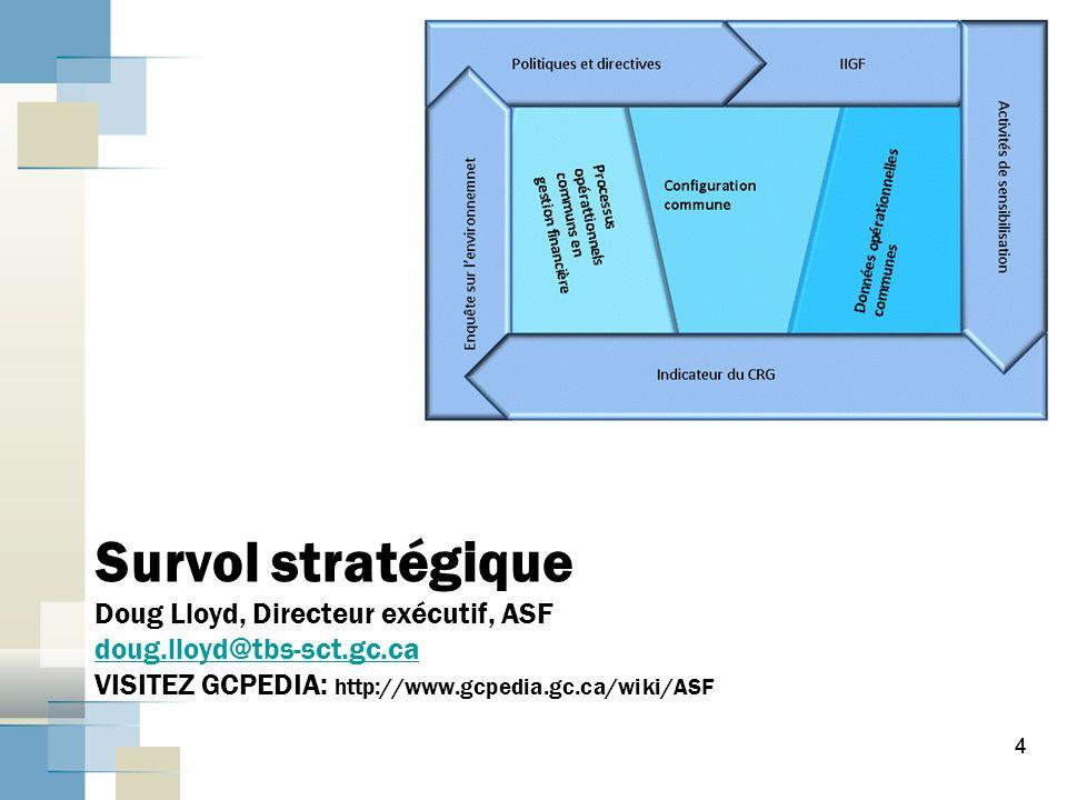 4 Survol stratégique Doug Lloyd, Directeur exécutif, ASF doug.lloyd@tbs-sct.gc.ca VISITEZ GCPEDIA: http://www.gcpedia.gc.ca/wiki/ASF doug.lloyd@tbs-sct.gc.ca 4