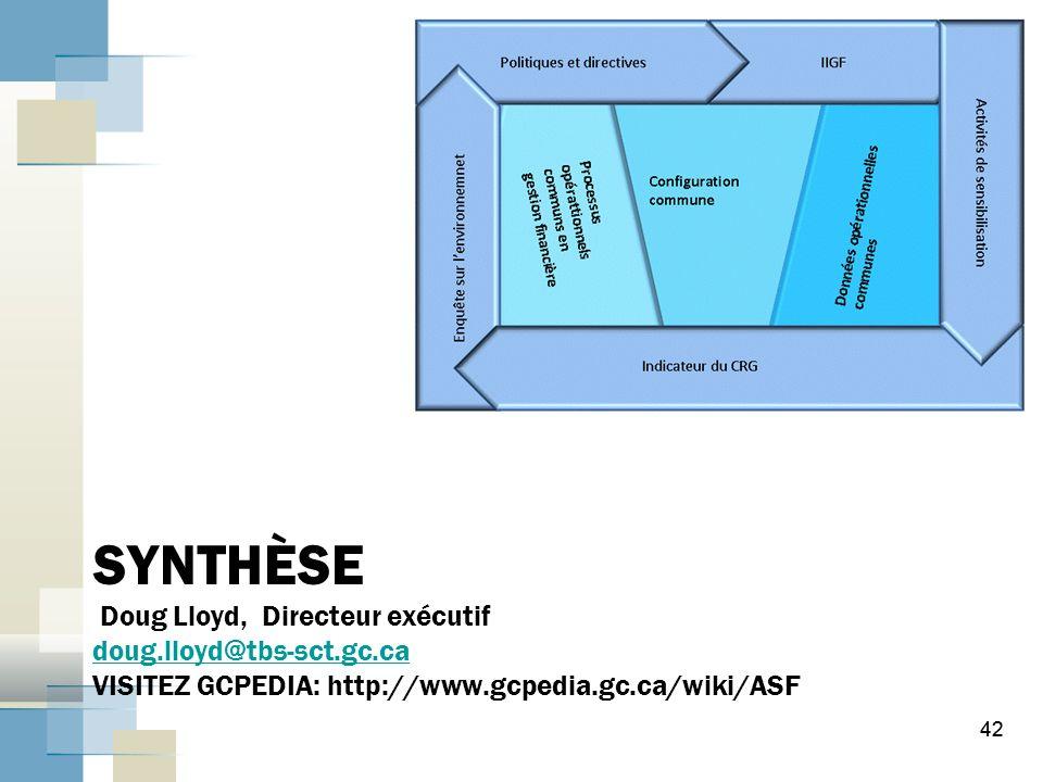 42 SYNTHÈSE Doug Lloyd, Directeur exécutif doug.lloyd@tbs-sct.gc.ca VISITEZ GCPEDIA: http://www.gcpedia.gc.ca/wiki/ASF doug.lloyd@tbs-sct.gc.ca 42