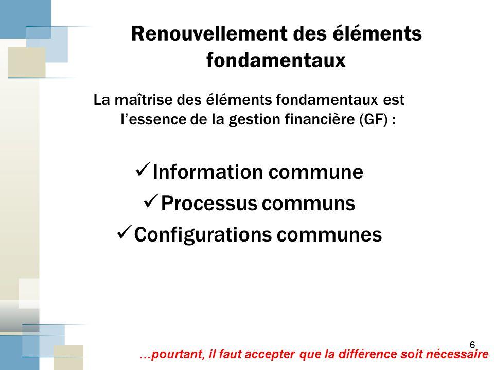 66 Renouvellement des éléments fondamentaux La maîtrise des éléments fondamentaux est lessence de la gestion financière (GF) : Information commune Processus communs Configurations communes …pourtant, il faut accepter que la différence soit nécessaire