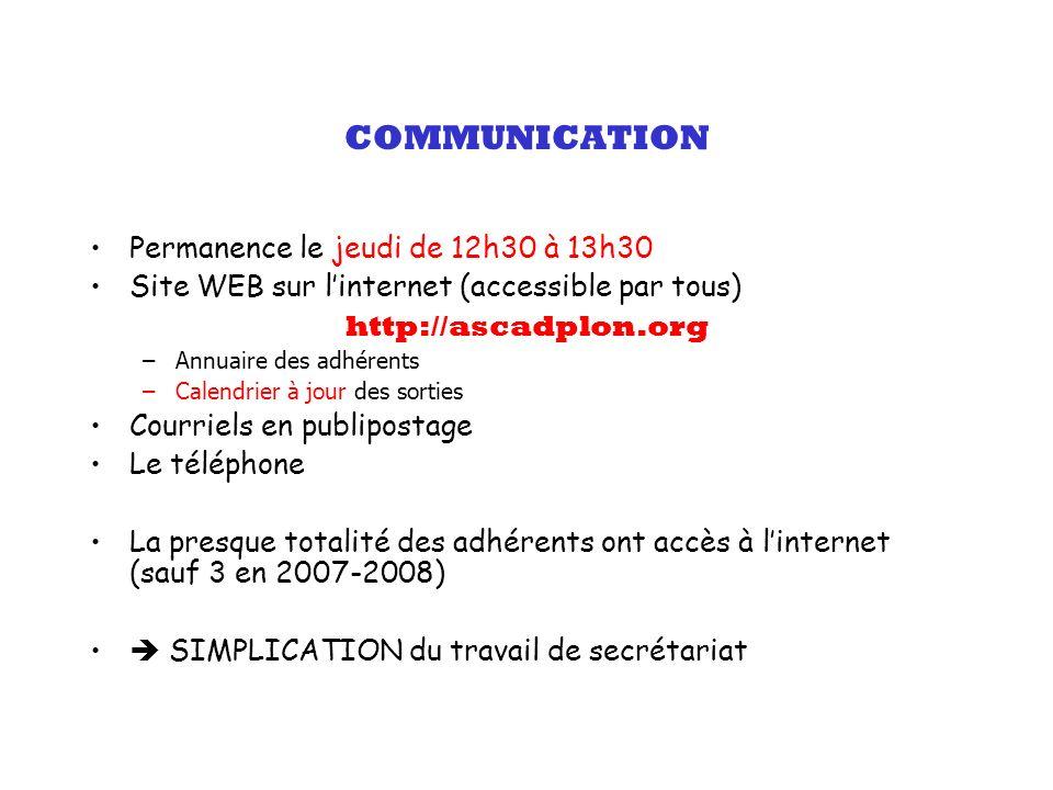 COMMUNICATION Permanence le jeudi de 12h30 à 13h30 Site WEB sur linternet (accessible par tous) http://ascadplon.org –Annuaire des adhérents –Calendri