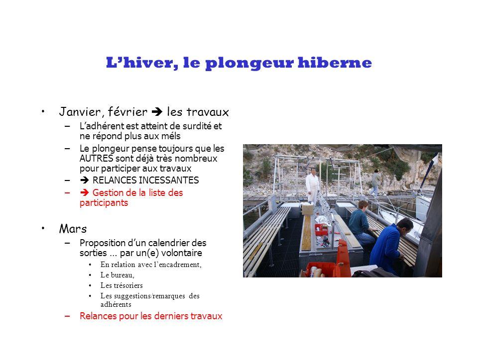 Lhiver, le plongeur hiberne Janvier, février les travaux –Ladhérent est atteint de surdité et ne répond plus aux méls –Le plongeur pense toujours que