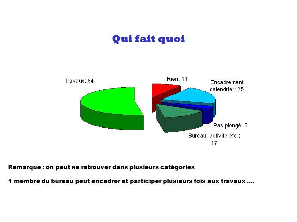 Qui fait quoi Remarque : on peut se retrouver dans plusieurs catégories 1 membre du bureau peut encadrer et participer plusieurs fois aux travaux ….