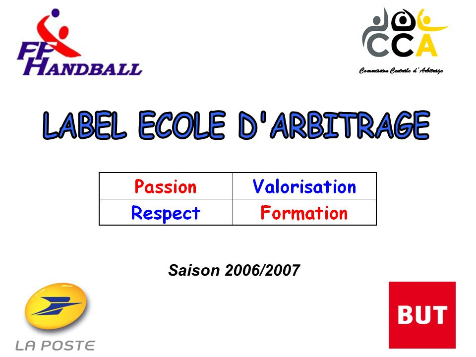 Le contexte Vœu de création du Label Ecole dArbitrage, présenté par la Commission Centrale dArbitrage, voté et approuvé par les ligues et les comités lors de lAssemblée Générale de la FFHB en avril 2006 à Vittel.