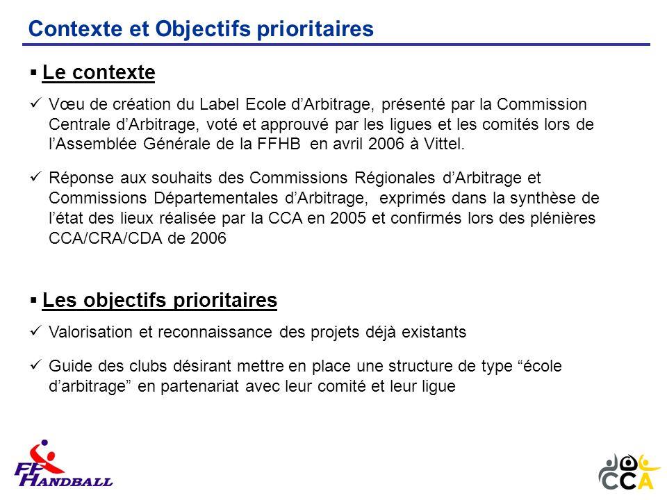 Le contexte Vœu de création du Label Ecole dArbitrage, présenté par la Commission Centrale dArbitrage, voté et approuvé par les ligues et les comités