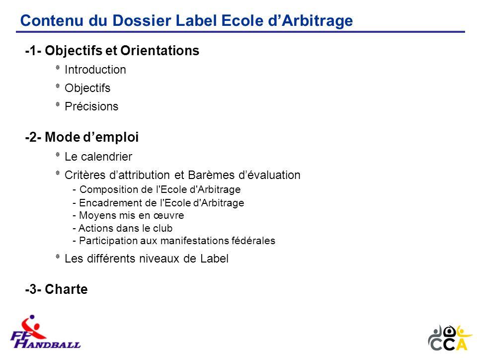 Contenu du Dossier Label Ecole dArbitrage (suite) -4- Méthodologie et Fiches Outils ٭ Fiche « Elaboration du projet décole darbitrage » ٭ Fiche « Contenu de la formation » - niveau 3 / phase de sensibilisation - niveau 2 / phase dapprentissage - niveau 1 / phase de perfectionnement ٭ Fiche « Observation de larbitre » - Arbitre seul / phase de sensibilisation - Arbitre seul ou en binôme / phase dapprentissage - Arbitre en binôme / phase de perfectionnement ٭ Fiche « Le Passeport de larbitre » - La carte de membre de lécole darbitrage - Le carnet de bord -5- Annexes ٭ Demande de Labellisation de lEcole dArbitrage ٭ Dossier de demande de Label Ecole dArbitrage