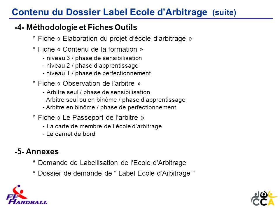Contenu du Dossier Label Ecole dArbitrage (suite) -4- Méthodologie et Fiches Outils ٭ Fiche « Elaboration du projet décole darbitrage » ٭ Fiche « Cont
