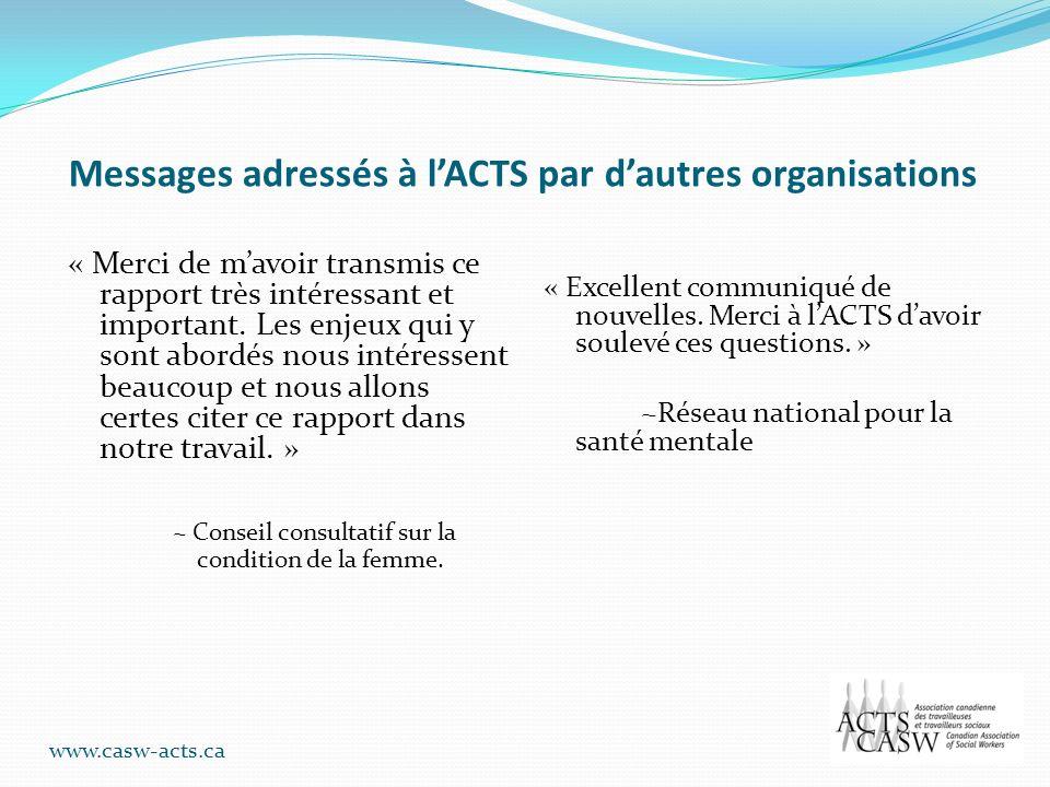 Messages adressés à lACTS par dautres organisations « Merci de mavoir transmis ce rapport très intéressant et important. Les enjeux qui y sont abordés