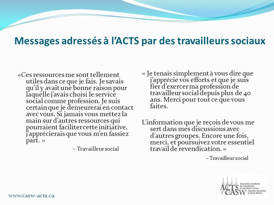 Messages adressés à lACTS par des travailleurs sociaux «Ces ressources me sont tellement utiles dans ce que je fais. Je savais quil y avait une bonne