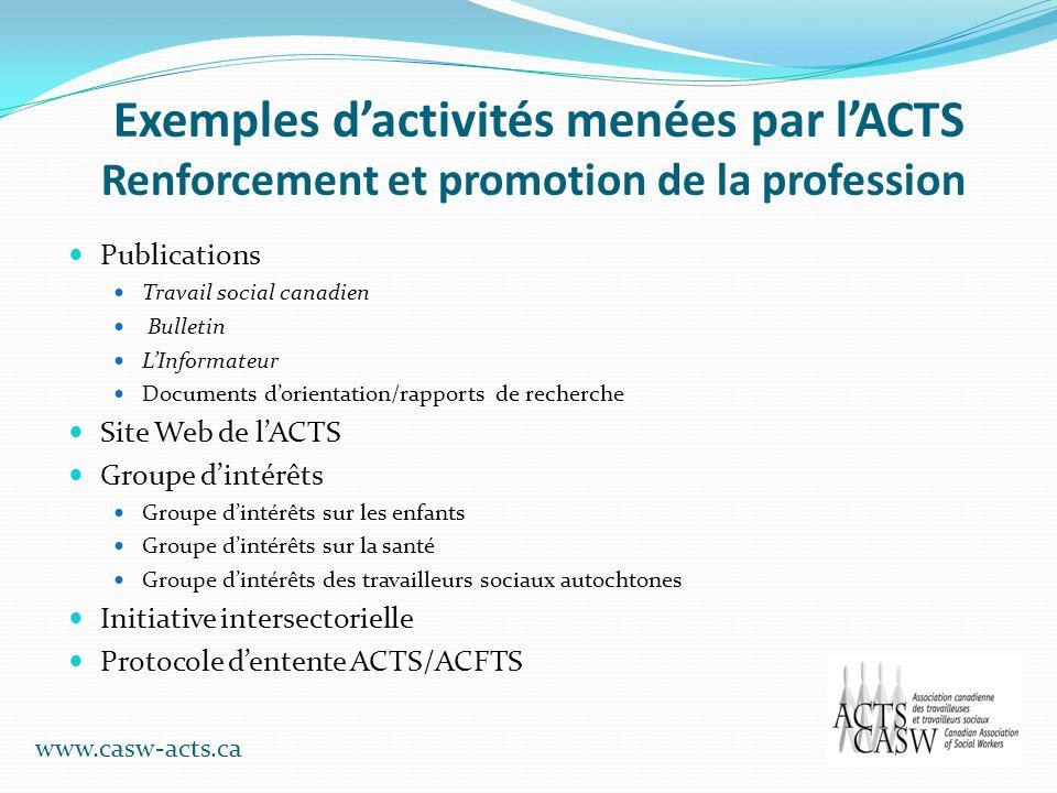 Exemples dactivités menées par lACTS Renforcement et promotion de la profession Publications Travail social canadien Bulletin LInformateur Documents d