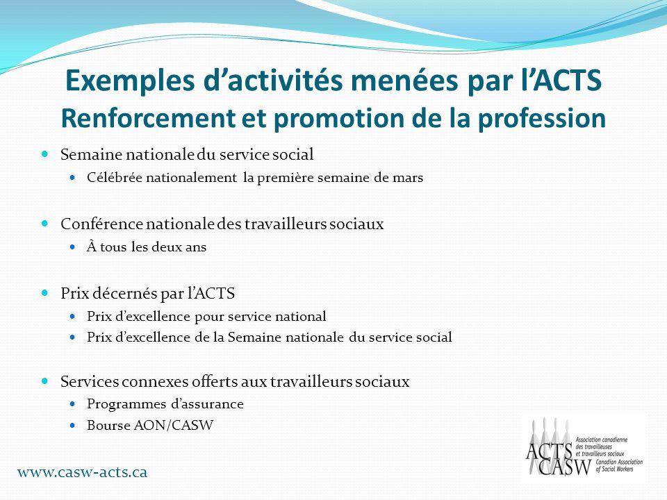 Exemples dactivités menées par lACTS Renforcement et promotion de la profession Semaine nationale du service social Célébrée nationalement la première