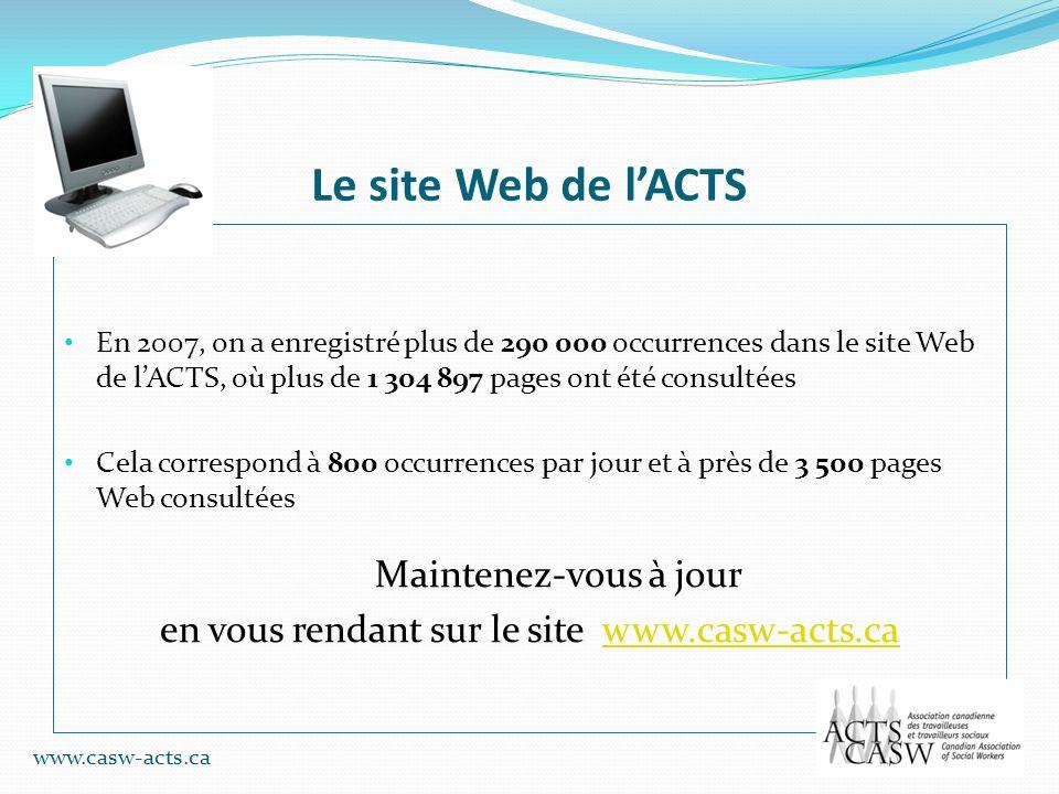 Le site Web de lACTS En 2007, on a enregistré plus de 290 000 occurrences dans le site Web de lACTS, où plus de 1 304 897 pages ont été consultées Cel