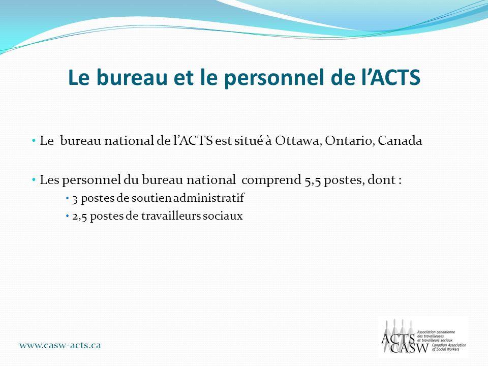 Le bureau et le personnel de lACTS Le bureau national de lACTS est situé à Ottawa, Ontario, Canada Les personnel du bureau national comprend 5,5 poste