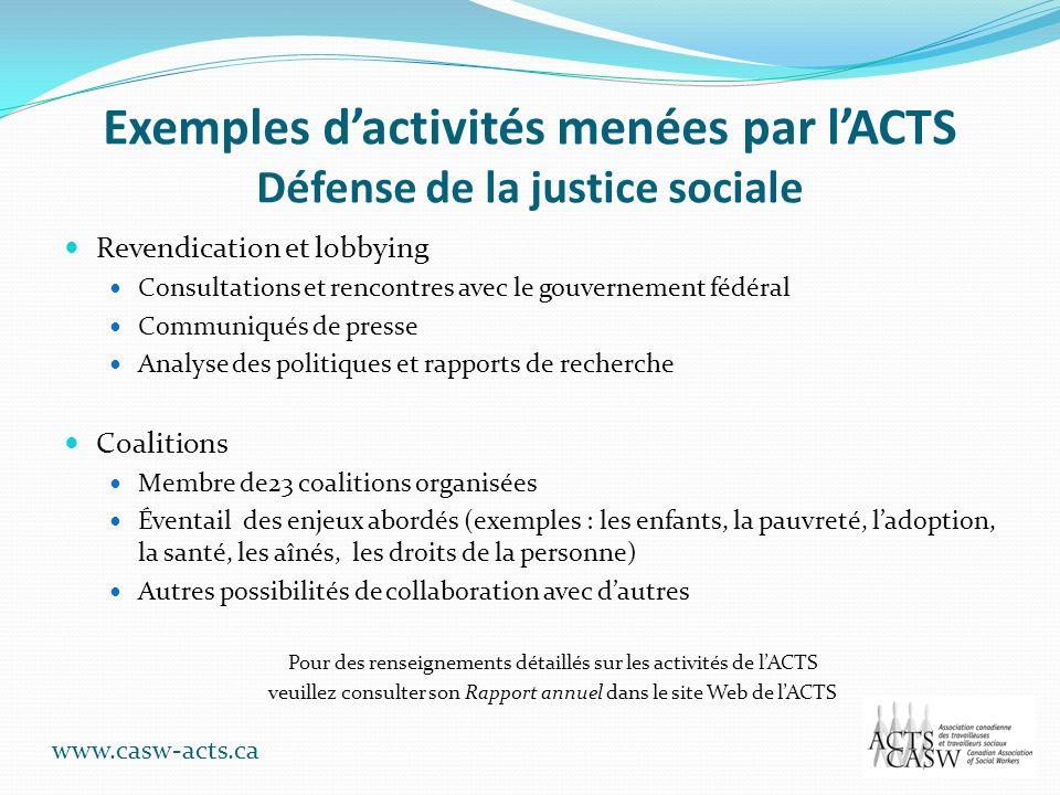 Exemples dactivités menées par lACTS Défense de la justice sociale Revendication et lobbying Consultations et rencontres avec le gouvernement fédéral