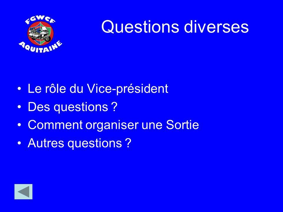 Questions diverses Le rôle du Vice-président Des questions ? Comment organiser une Sortie Autres questions ?