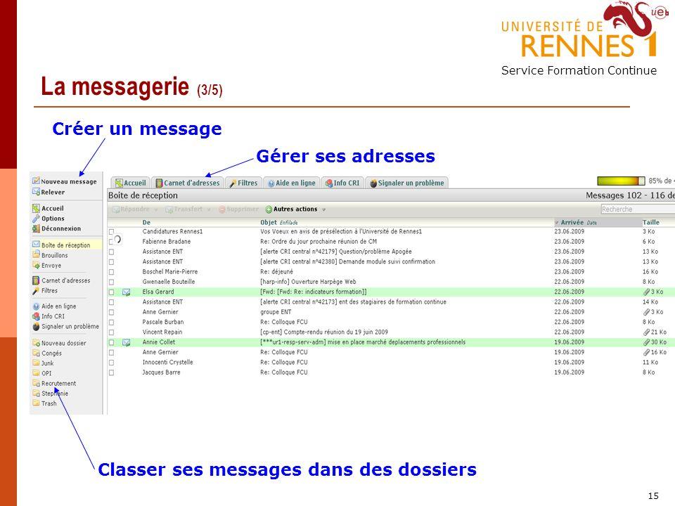 Service Formation Continue 15 La messagerie (3/5) Créer un message Gérer ses adresses Classer ses messages dans des dossiers