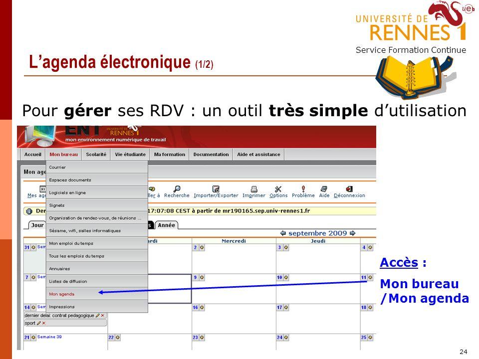 Service Formation Continue 24 Lagenda électronique (1/2) Pour gérer ses RDV : un outil très simple dutilisation Accès : Mon bureau /Mon agenda