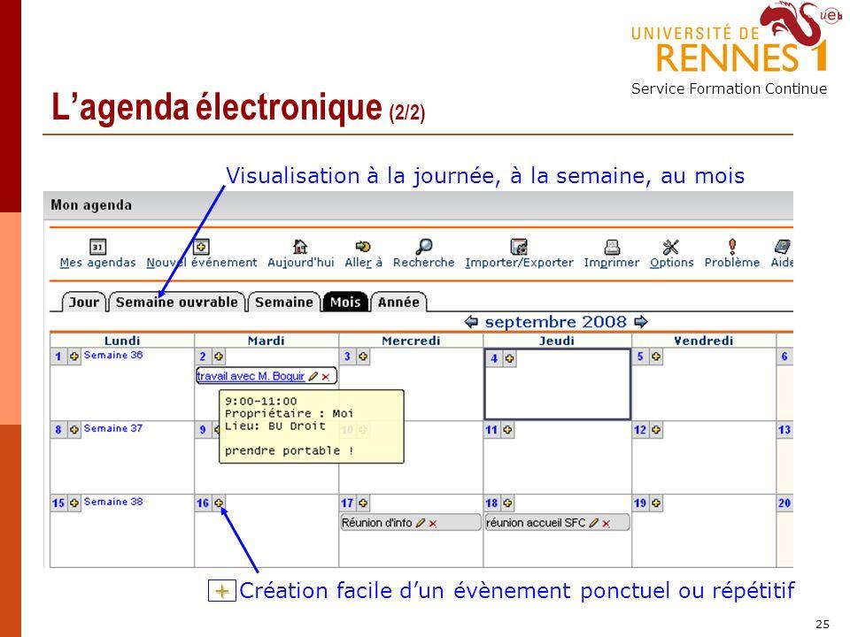 Service Formation Continue 25 Lagenda électronique (2/2) Création facile dun évènement ponctuel ou répétitif Visualisation à la journée, à la semaine, au mois +