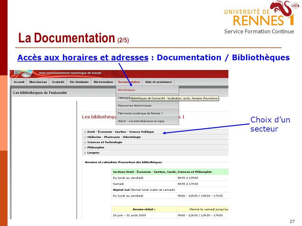 Service Formation Continue 27 La Documentation (2/5) Accès aux horaires et adresses : Documentation / Bibliothèques Choix dun secteur