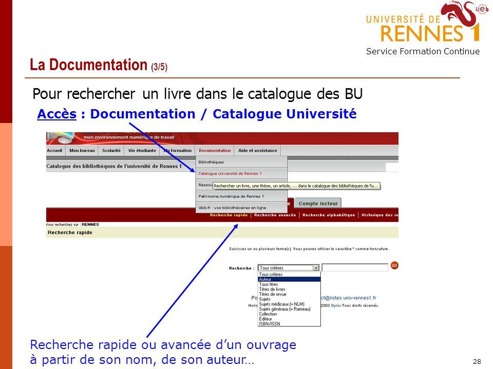 Service Formation Continue 28 La Documentation (3/5) Accès : Documentation / Catalogue Université Recherche rapide ou avancée dun ouvrage à partir de son nom, de son auteur… Pour rechercher un livre dans le catalogue des BU