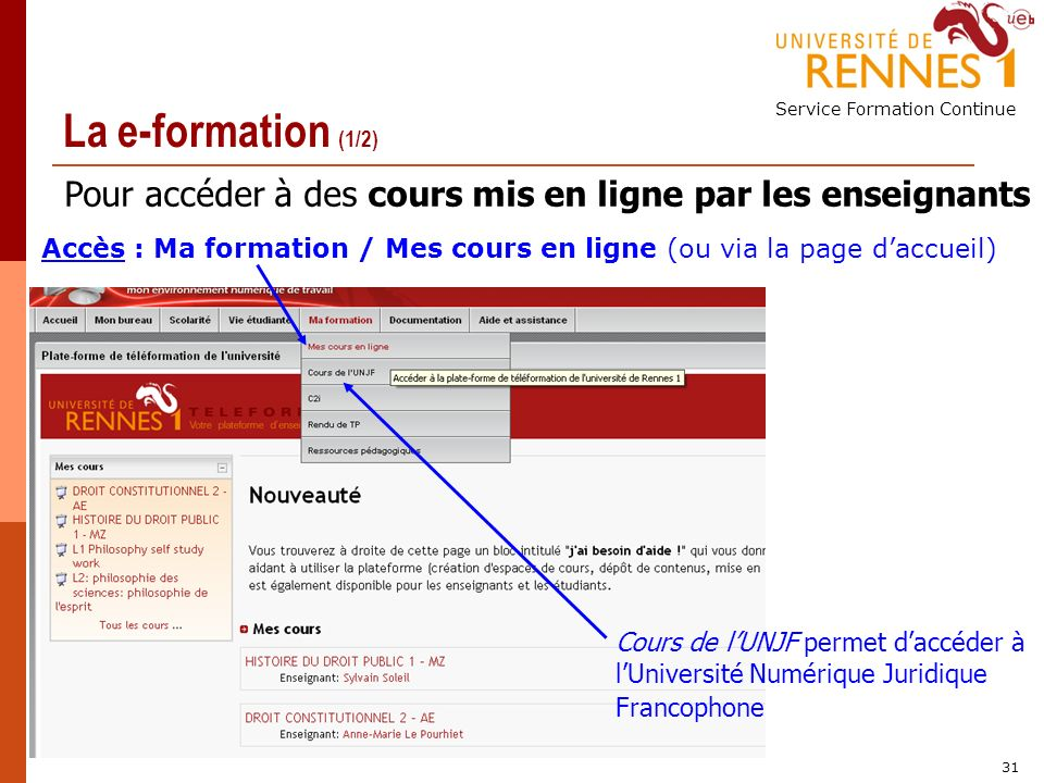 Service Formation Continue 31 La e-formation (1/2) Pour accéder à des cours mis en ligne par les enseignants Accès : Ma formation / Mes cours en ligne (ou via la page daccueil) Cours de lUNJF permet daccéder à lUniversité Numérique Juridique Francophone