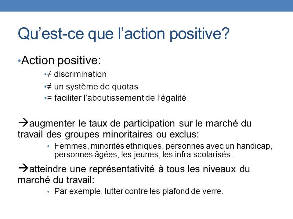 Quest-ce que laction positive? Action positive: discrimination un système de quotas = faciliter laboutissement de légalité augmenter le taux de partic